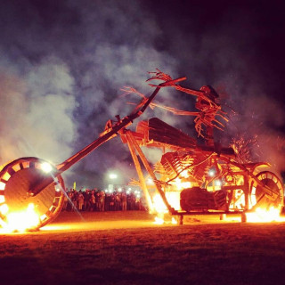 Burning Bike & Firework Spectacular !